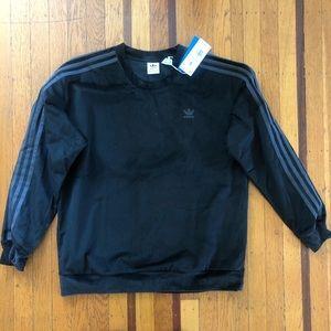 NWT women's Adidas black corduroy crewneck sweats